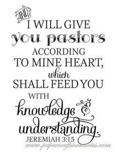Free Pastor Appreciation verse Jeremiah 3:15 WORDart by Karen.