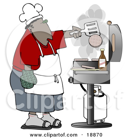 Clipart of a Cartoon Nude White Man Wearing an Apron and Cooking.