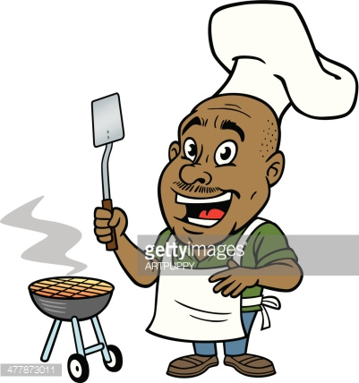 African American People Grilling Clipart Transparent Background.