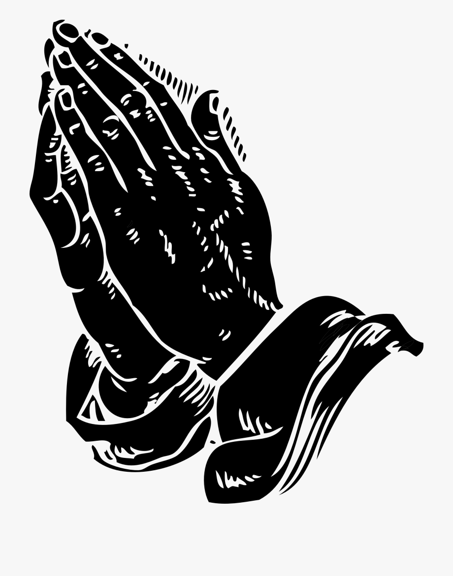 Praying Hands Clip Art Black White Line Coloring.
