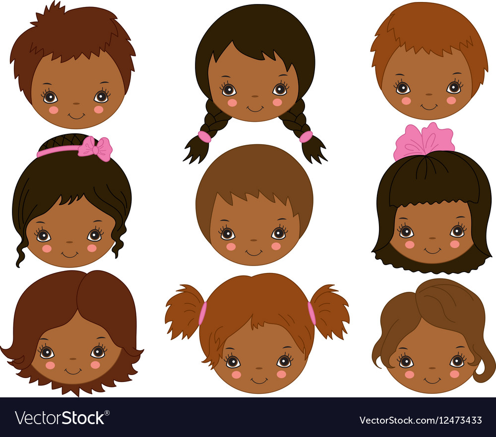 African American Kids Faces.