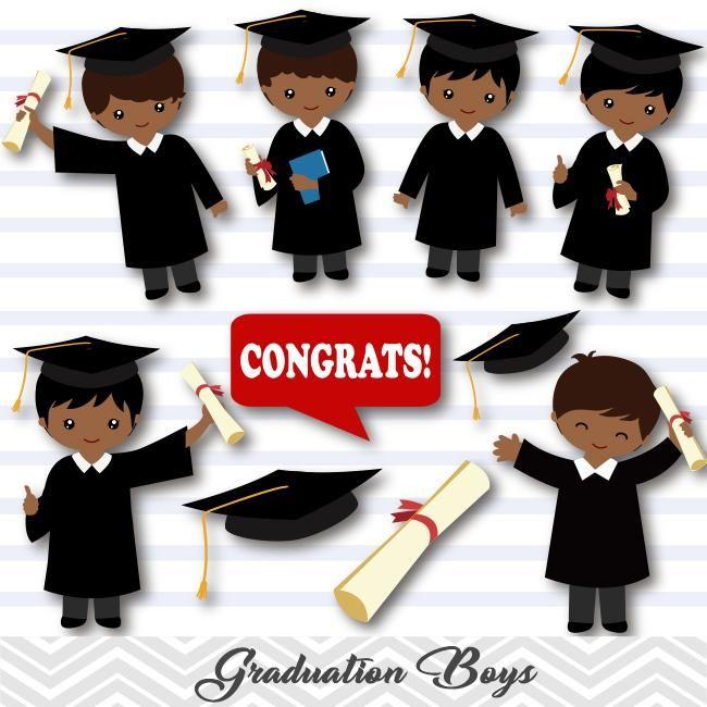 African American Graduation Boys Clip Art, Boys Graduate.
