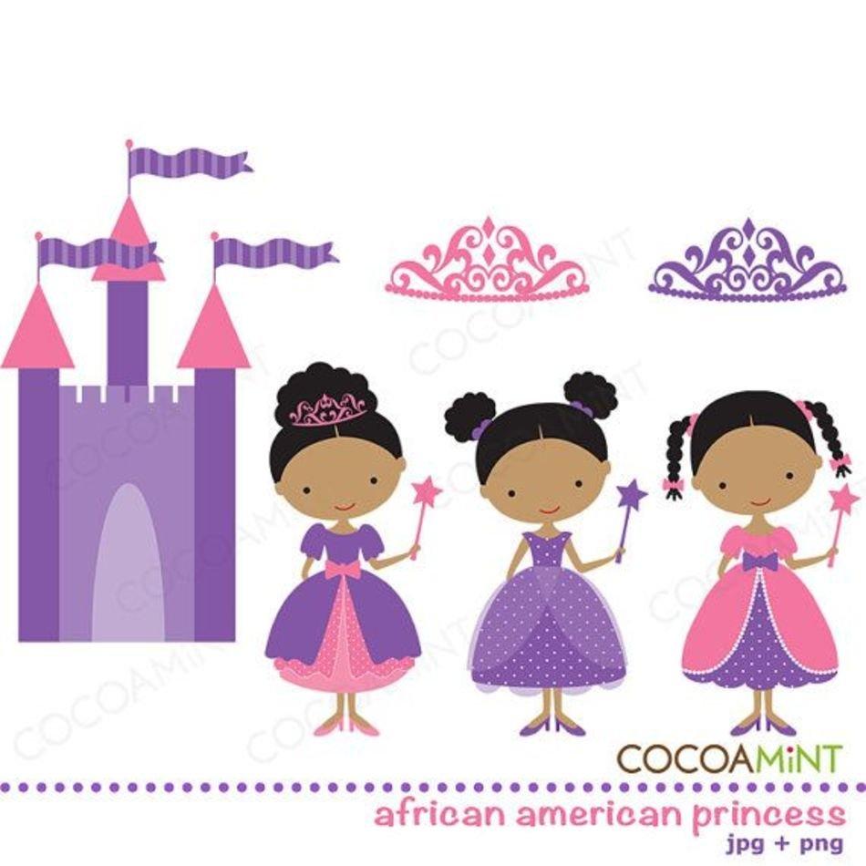 African American Princess Clip Art free image.