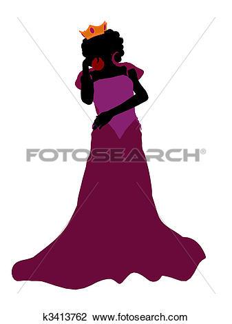 Clip Art of Evil Queen Silhouette Illustration k3413762.