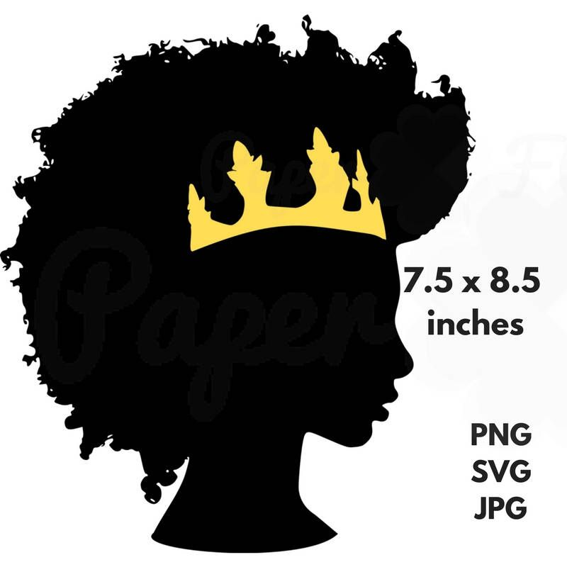 Afro Crown Silhouette SVG Clip Art Black Natural Hair PNG.