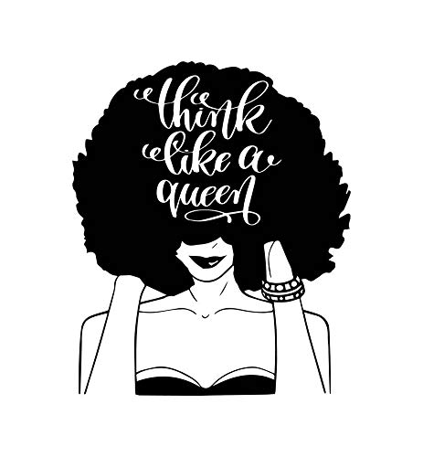 EvelynDavid Black Woman Stylish Princess Princess Queen Afro Hair Beautiful  African American Female Lady Sticker Vinyl Decal Vector Clipart Digital.