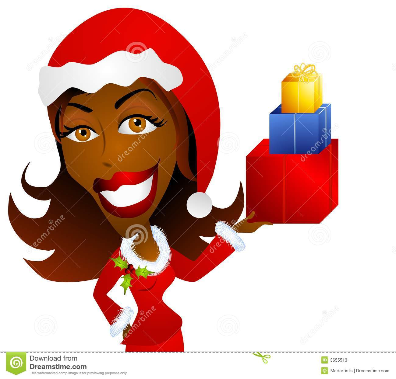 African American Woman Holding Christmas Gifts Stock Illustration.