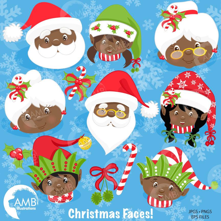 Christmas Clipart, African American Santa, Christmas Elf Clipart, Christmas  Faces, AMB.