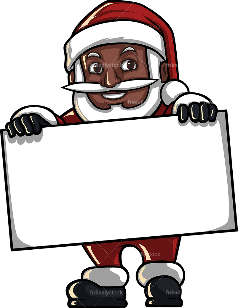 A Smiling Black Santa Claus Holding An Empty Sign.