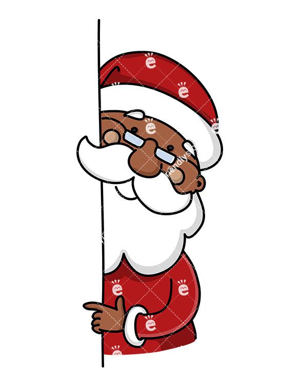 Black Santa Claus Pointing Sideways To Empty Space.