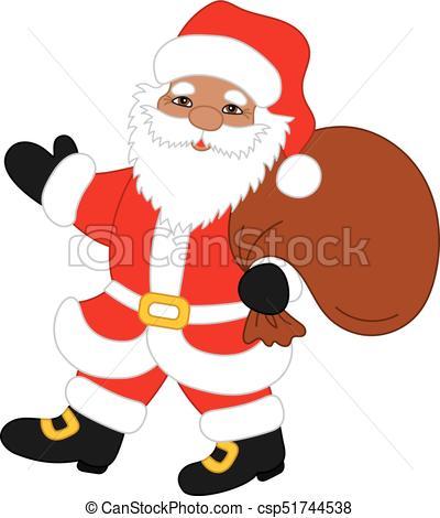 Vector Christmas Santa Claus with Sack.