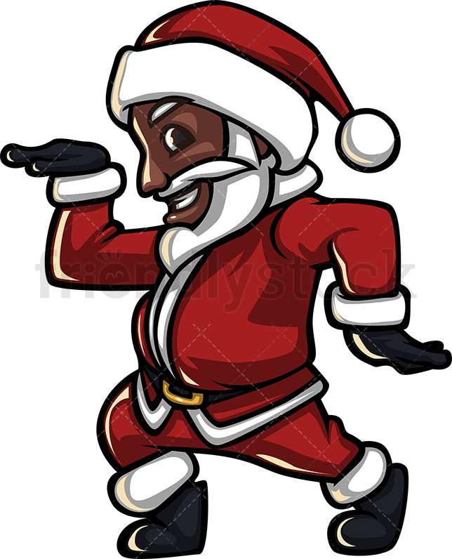 An Energetic Black Santa Claus Smiling And Making A Disco Dance Move.