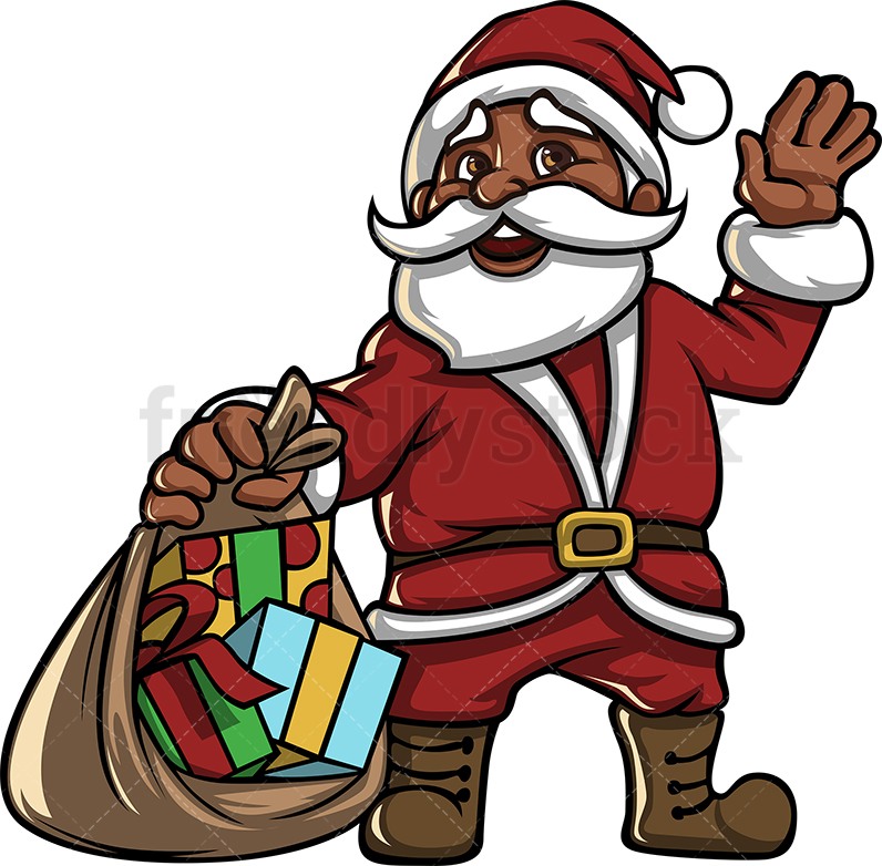 Black Santa Claus With A Gift Sack Full Of Christmas Gifts.