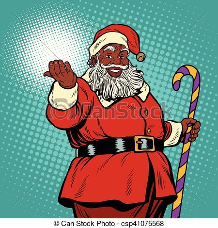 African American black Santa Claus.