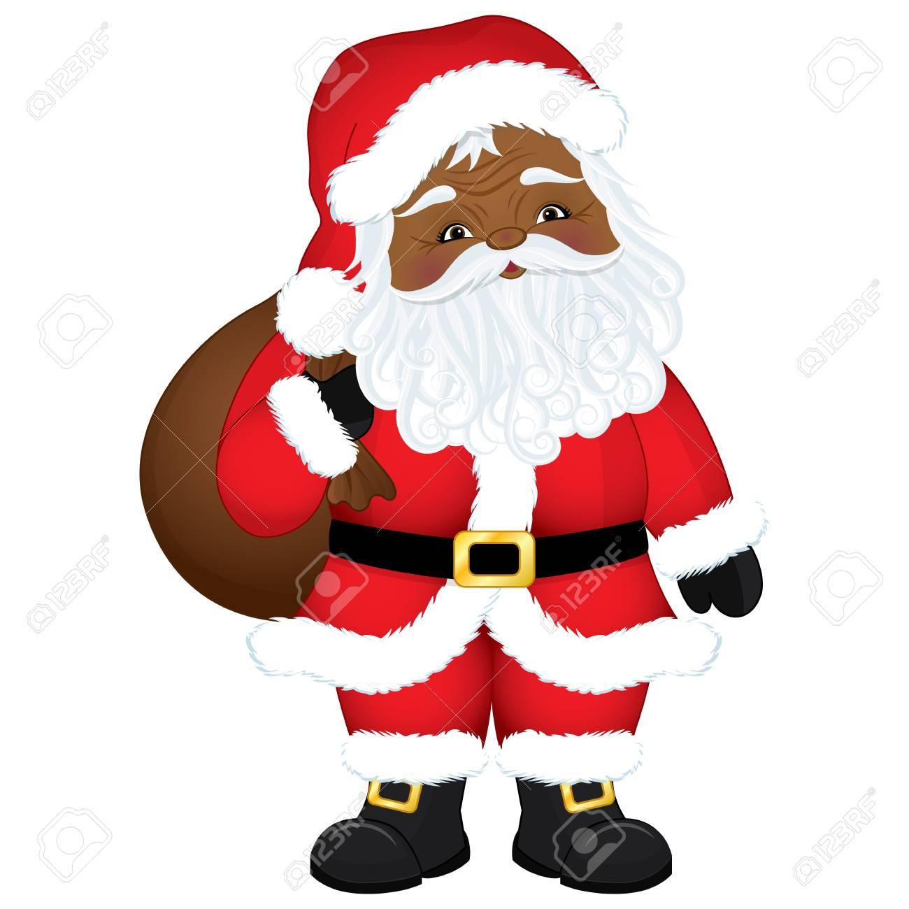 Vector cute cartoon African American Santa Claus with sack. Vector...