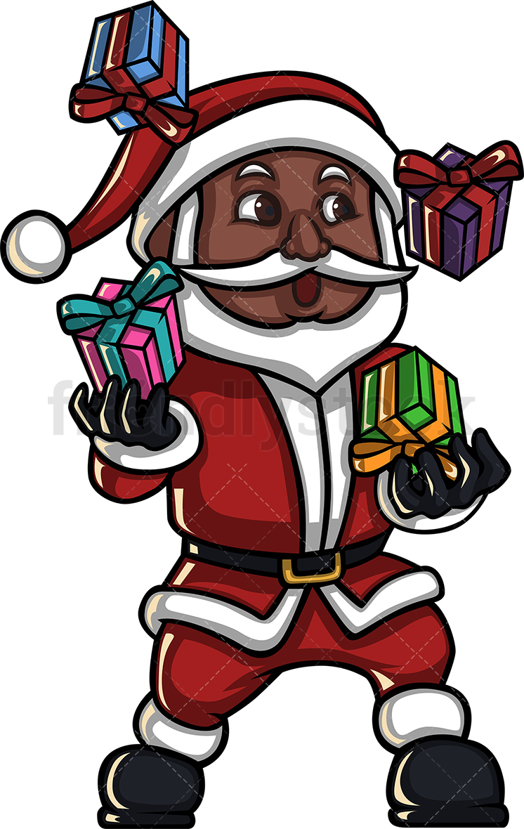 A Black Santa Claus Juggling With Christmas Gifts.