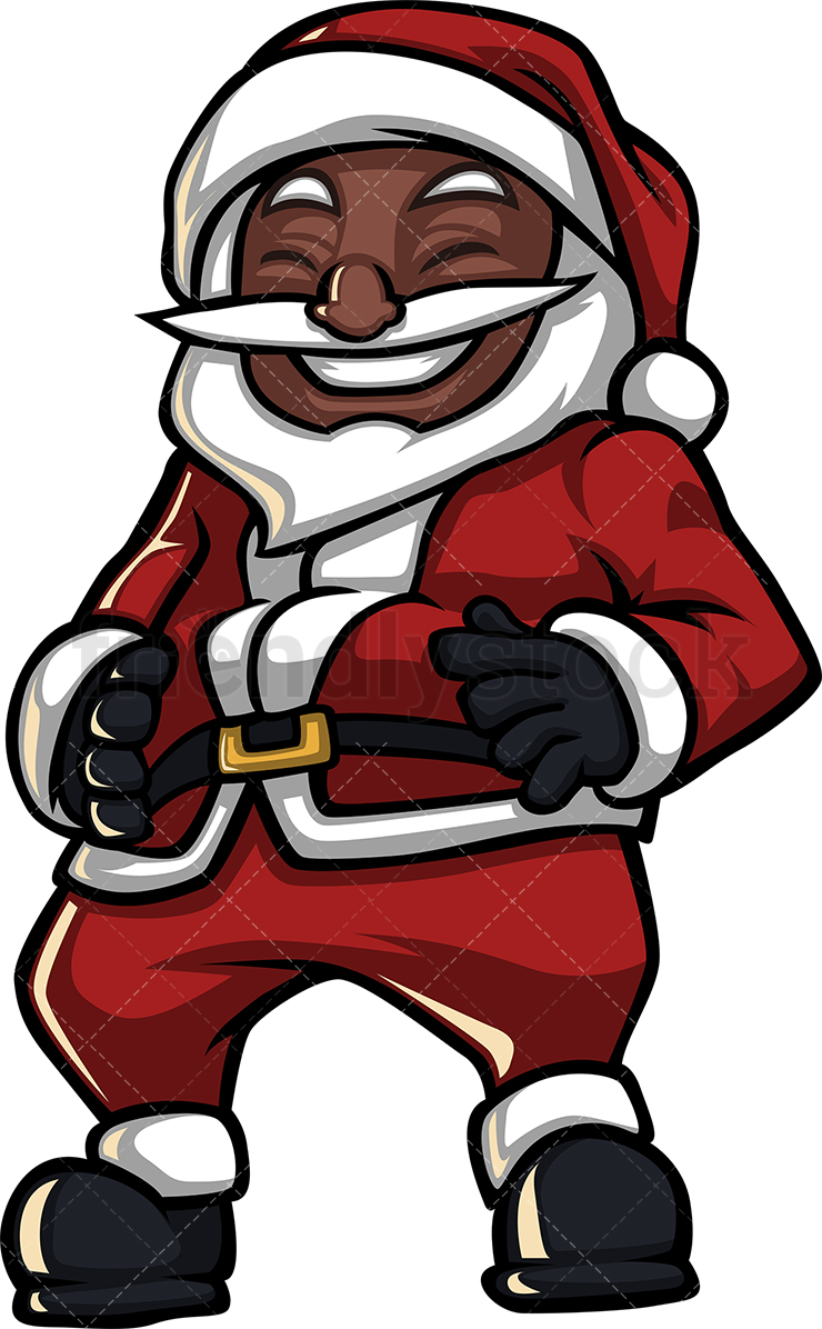 A Black Santa Claus Holding His Belly As He Laughs.