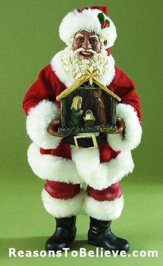 Kurt Adler African American Santa Figurine Gift Packages 10 in.