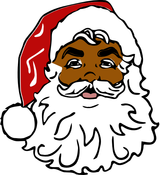 african american santa claus with pancakes clipart ...