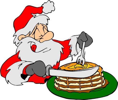 Clipart santa eating pancakes.