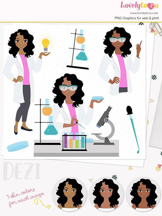 Scientist woman character clipart science lab girl beaker in.