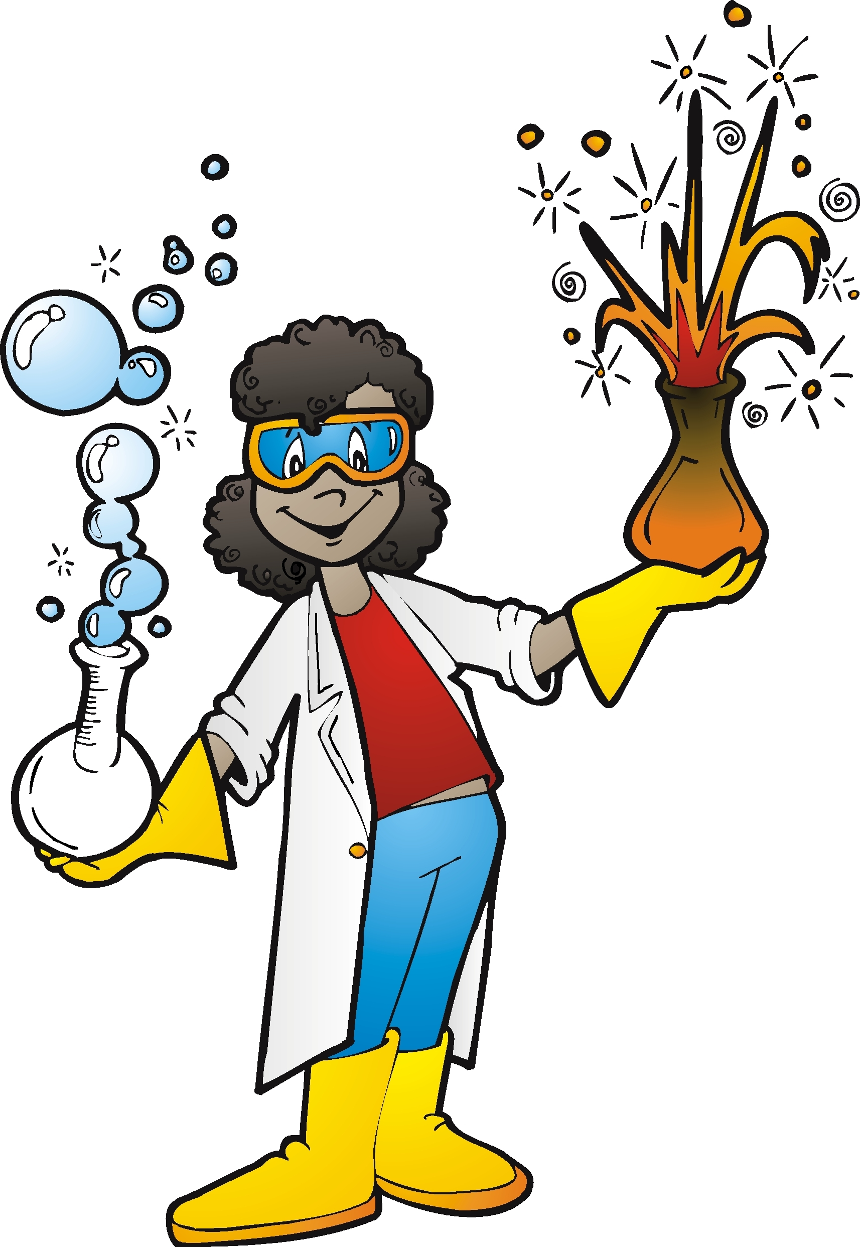 African american scientist man clipart.