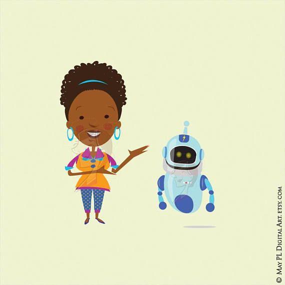 Science Teacher Scientist African American Woman Clipart.
