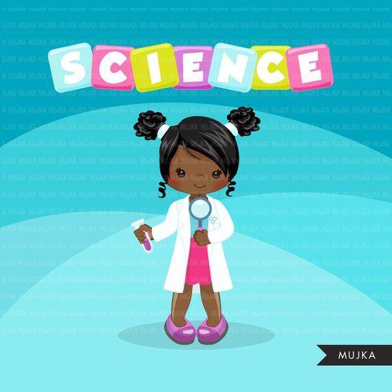 Science Clipart. Scientist Kids graphics lab school elements.
