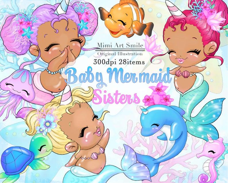 African American Baby Mermaid Sisters Clipart Medium,Cute Unicorn Girl Clip  art,Digital Planner sticker Turtle Dolphin Seahorse Pretty kawai.