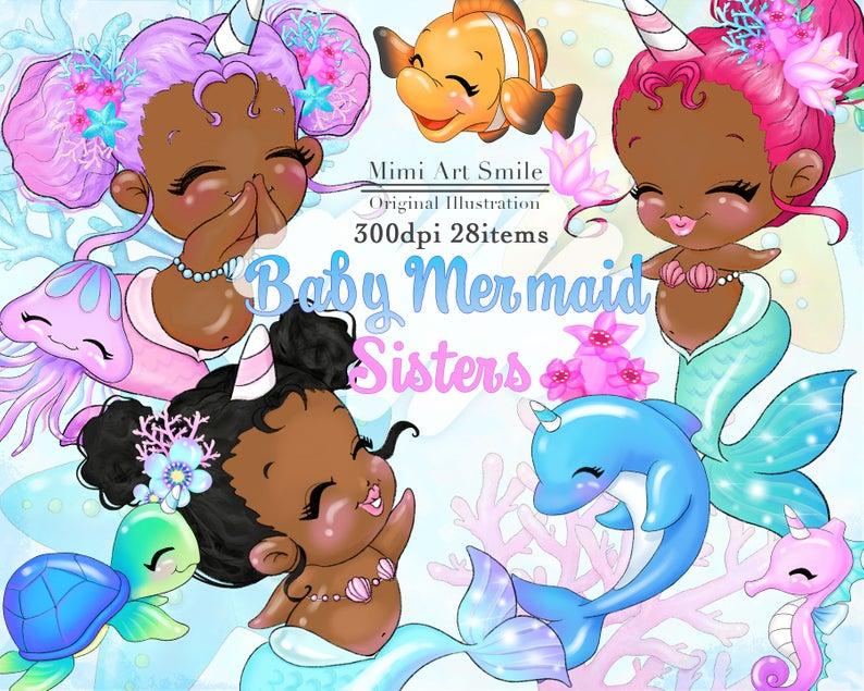 African American Baby Mermaid Sisters Clipart Dark,Cute Unicorn Girl Clip  art,Digital Planner sticker Turtle Dolphin Seahorse Flower Pretty.