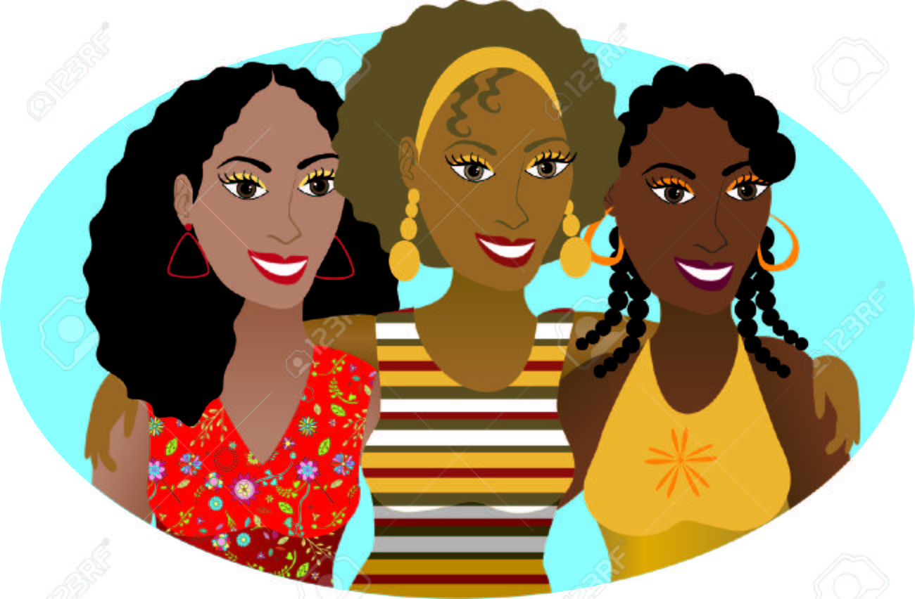 Vector Illustration of 3 friends or sisters..