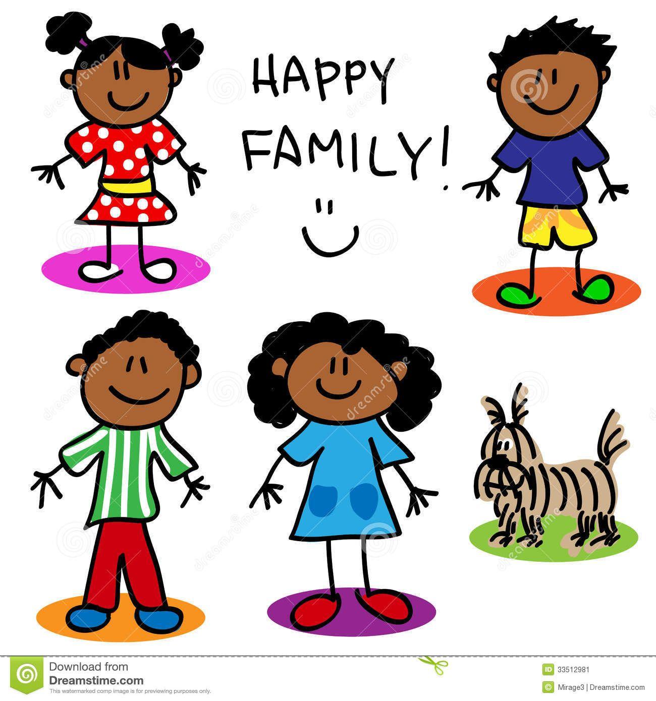 Stick Figure Black Family.