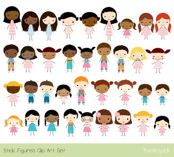 Cute children clipart, Stick figure multinational multiracial, African  American.