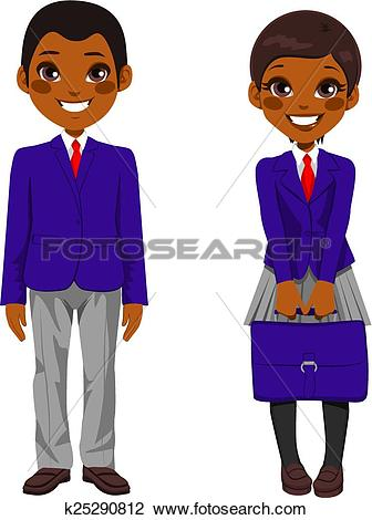 Clipart of African American Students Uniform k25290812.
