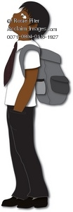 Clipart Illustration of a A Male African American Student.