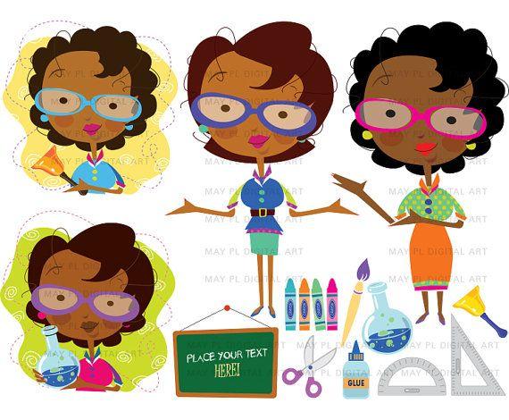 African American Woman Teacher, Classroom Clip Art.