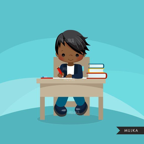 Back to school Clipart. Cute students, school desk, school.