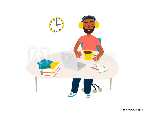 Student in learning process. Flat illustration of african.