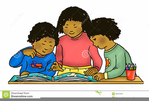 African American Child Reading Clipart.