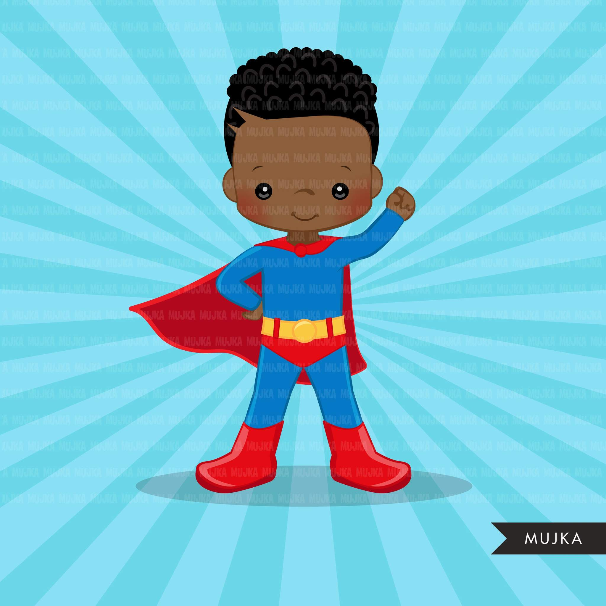 Black Superhero boys Clipart splash background & cute.