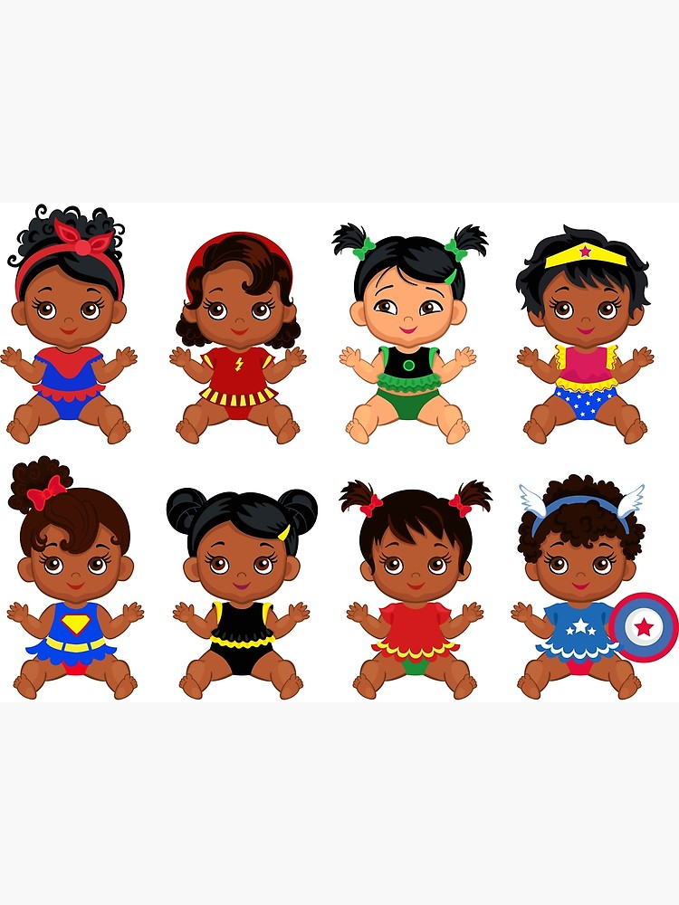 \'African American Superhero baby ,Superhero Multicultural Baby Costumes ,  SuperBaby Girls Clipart.\' Greeting Card by Sandytov.