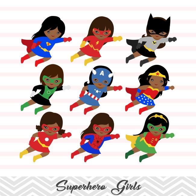 27 African American Superhero Girls Digital Clip Art, Little African  American Girl Superhero Clipart, Avengers Clip Art, 00206.