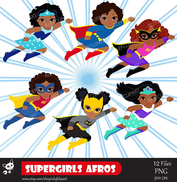 Girls Superhero clip art, Supergirl clipart, African.