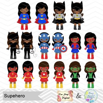 32 African American Superhero Girls Clipart, African American Superhero 0276.