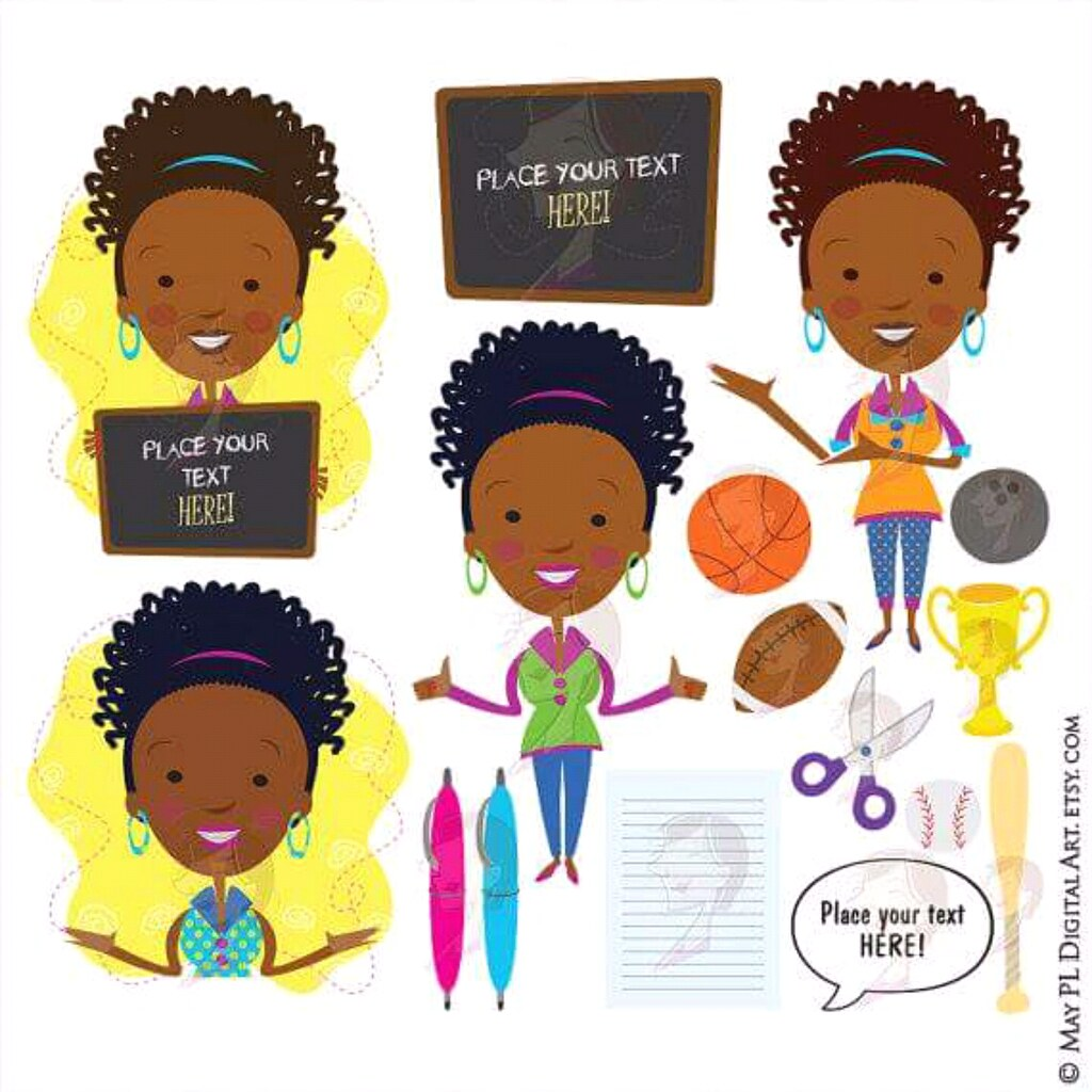 Complete set of African American teacher with ponytail, in.
