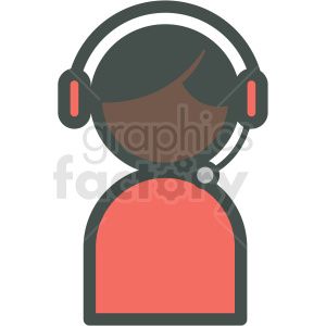 african american tech support vector icon . Royalty.