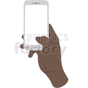 african american thumb scrolling on phone vector clipart no background .  Royalty.