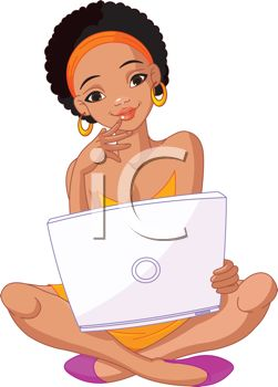 Royalty Free Clip Art Image: African American Teenage Girl with.