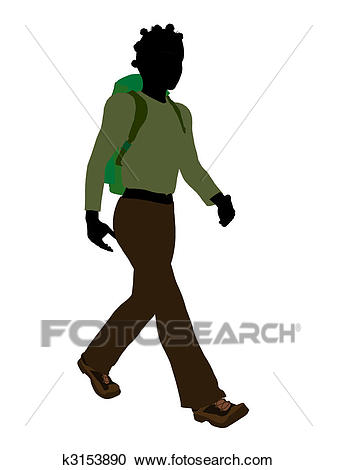 African American Teen Hiker Silhouette Clipart.