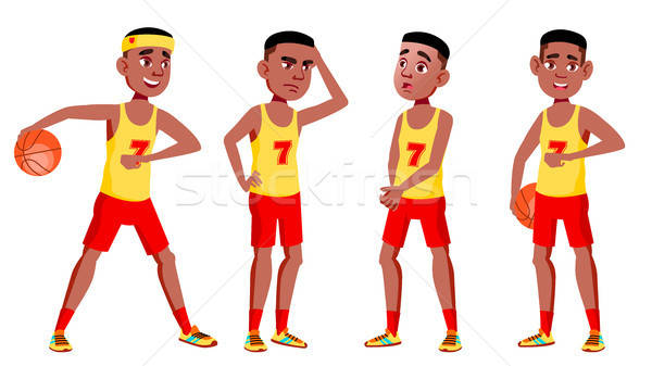 Teen Boy Poses Set Vector. Black. Afro American. Cute, Comic.